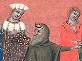 Svatopluk v mnišském rouše na Arnulfově dvoře, Dalimilova kronika, foto: wikimedia.org